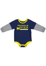 Colosseum Michigan Wolverines Baby Navy Blue Button Lift Long Sleeve One Piece
