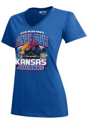 Kansas Jayhawks Womens Blue Desert Ball Short Sleeve T-Shirt