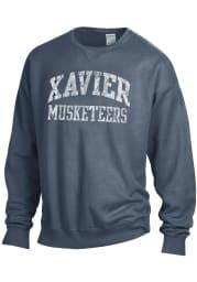 Xavier Musketeers Womens Navy Blue Comfort Wash Crew Sweatshirt