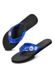 Philadelphia 76ers Blue/Black Sequence Womens Flip Flops