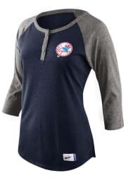 Nike New York Yankees Womens Navy Blue Tri-Blend Cooperstown Raglan LS Tee