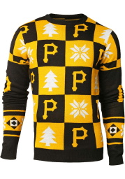 Pittsburgh Pirates Mens Black Patches Ugly Crew Long Sleeve Sweater