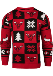 Chicago Bulls Mens Red Patches Ugly Crew Neck Long Sleeve Sweater