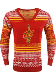 Cleveland Cavaliers Womens Red Big Logo Aztec Long Sleeve Sweater