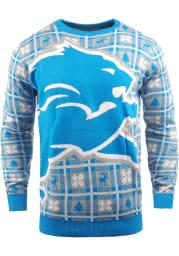 Detroit Lions Mens Blue Big Logo Long Sleeve Sweater