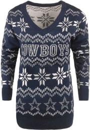 Dallas Cowboys Womens Blue Light Up Vneck Bluetooth Sweater Long Sleeve Sweater