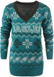 Philadelphia Eagles Womens Midnight Green Light Up Vneck Bluetooth Sweater Long Sleeve Sweater