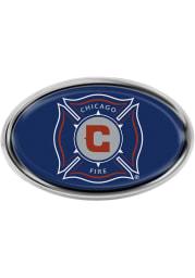 Chicago Fire Domed Oval Car Emblem - Blue