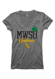 Missouri Western Griffons Juniors Grey Glitter Rock V-Neck T-Shirt