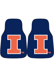 Sports Licensing Solutions Illinois Fighting Illini 2-Piece Carpet Car Mat - Navy Blue