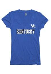 Kentucky Wildcats Juniors Blue Straightaway V-Neck T-Shirt