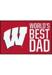 Wisconsin Badgers Worlds Best Dad 19x30 Starter Interior Rug