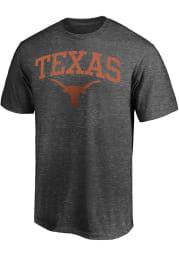 Texas Longhorns Charcoal Arch Mascot Distressed Short Sleeve Fashion T Shirt
