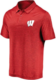 Wisconsin Badgers Mens Red Striated Short Sleeve Polo