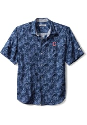 Tommy Bahama Cleveland Indians Mens Navy Blue Jungle Shade Camp Short Sleeve Dress Shirt