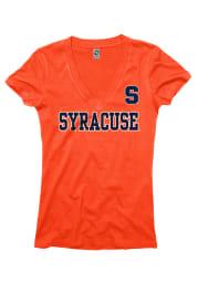 Syracuse Orange Juniors Orange Straightaway V-Neck T-Shirt
