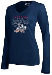 Reading Fightin Phils Womens Navy Blue Mia Long Sleeve T-Shirt