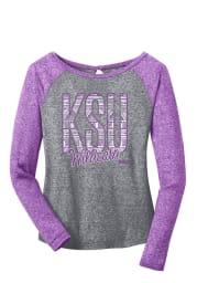 K-State Wildcats Juniors Purple Ellie Long Sleeve Scoop Neck