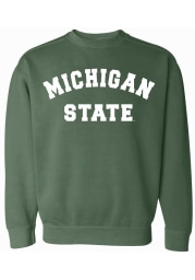 Michigan State Spartans Womens Green Simple Crew Sweatshirt