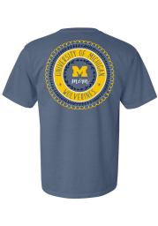 Michigan Wolverines Womens Blue Mom Spiral Short Sleeve T-Shirt