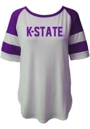 K-State Wildcats Womens White Avery Football Short Sleeve T-Shirt