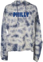 Philadelphia Womens Blue Tie Dye Long Sleeve Light Weight Hood