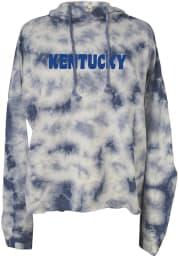Kentucky Womens Blue Tie Dye Long Sleeve Light Weight Hood