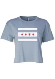 Chicago Women's Stonewash Denim City Flag Cropped Short Sleeve T-Shirt