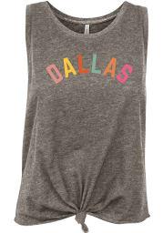Dallas Women's Grey Heather Multi Color Wordmark Tank Top