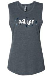 Dallas Women's Denim Stars Wordmark Muscle Tank Top