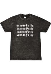 Kansas City Black Mineral Wash Lightening Bolt Short Sleeve T Shirt