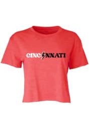 Cincinnati Womens Red Lightening Bolt Short Sleeve T-Shirt