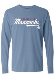Kansas City Monarchs Womens Blue Script LS Tee