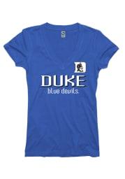 Duke Blue Devils Juniors Blue Straightaway V-Neck T-Shirt
