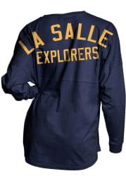 La Salle Explorers Womens Navy Blue Gameday Jersey LS Tee