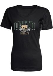 Ohio Bobcats Womens Black Basic V-Neck