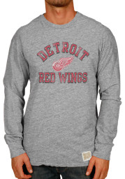Original Retro Brand Detroit Red Wings Grey Triblend Long Sleeve Fashion T Shirt