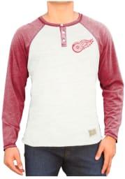 Original Retro Brand Detroit Red Wings White Triblend Raglan Henley Long Sleeve Tee
