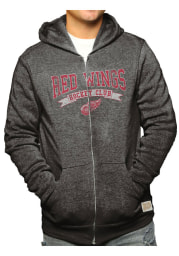 Original Retro Brand Detroit Red Wings Mens Black Triblend Long Sleeve Zip Fashion