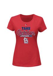 Majestic St Louis Cardinals Womens Red Post Season Clinch Short Sleeve Crew T-Shirt
