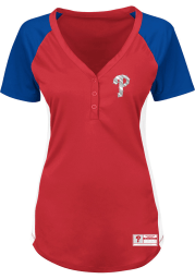 Philadelphia Phillies Womens Majestic League Diva Fashion Baseball Jersey - Red