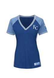 Kansas City Royals Womens Majestic League Diva Fashion Baseball Jersey - Blue