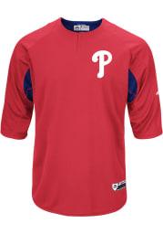 Philadelphia Phillies Mens Majestic Batting Practice Jersey - Red