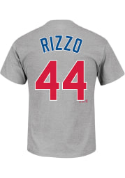 Anthony Rizzo Chicago Cubs Grey Name and Number Short Sleeve Player T Shirt
