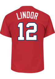 Francisco Lindor Cleveland Indians Red Name and Number Short Sleeve Player T Shirt