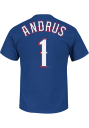 Elvis Andrus Texas Rangers Blue Name and Number Short Sleeve Player T Shirt