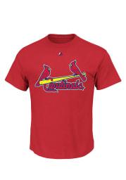 Majestic St Louis Cardinals Red Triple Peak Wordmark Short Sleeve T Shirt