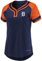 Detroit Tigers Womens Majestic League Diva Fashion Baseball Jersey - Navy Blue