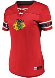 Majestic Chicago Blackhawks Womens Majestic Draft Me V Neck Fashion Hockey Jersey - Red