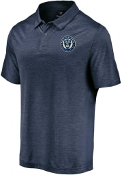 Philadelphia Union Mens Navy Blue Positive Production Short Sleeve Polo